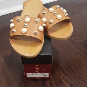 Go jane tan pearl sandals